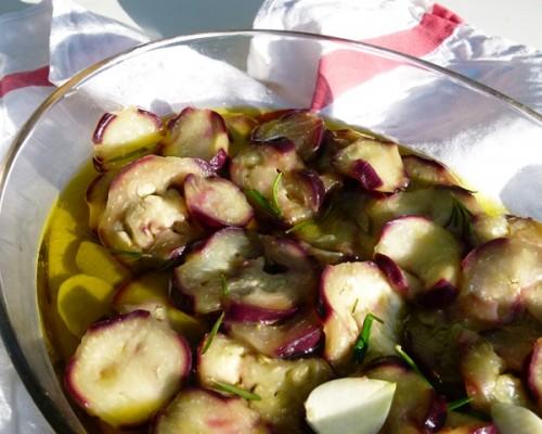 Salade d'aubergine, cusine maison bio à la Villa Gaia, Digne