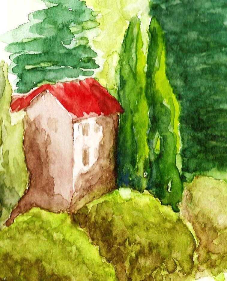 Aquarelle d'artiste pour les jardins de la Villa Gaia à Digne